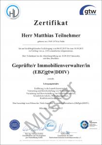 Bild eines Zertifikats Hausverwalter gtw